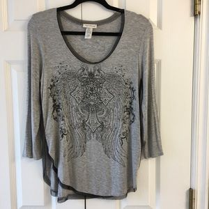 Ladies Grey Top Angels and Diamonds Size L